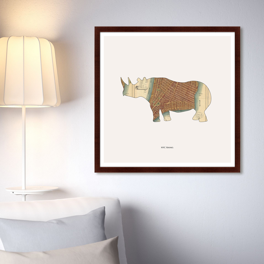 {} Картины в Квартиру Картина Rhino (79х79 см) картины в квартиру картина бульдоги в шотландской клетке 35х35 см