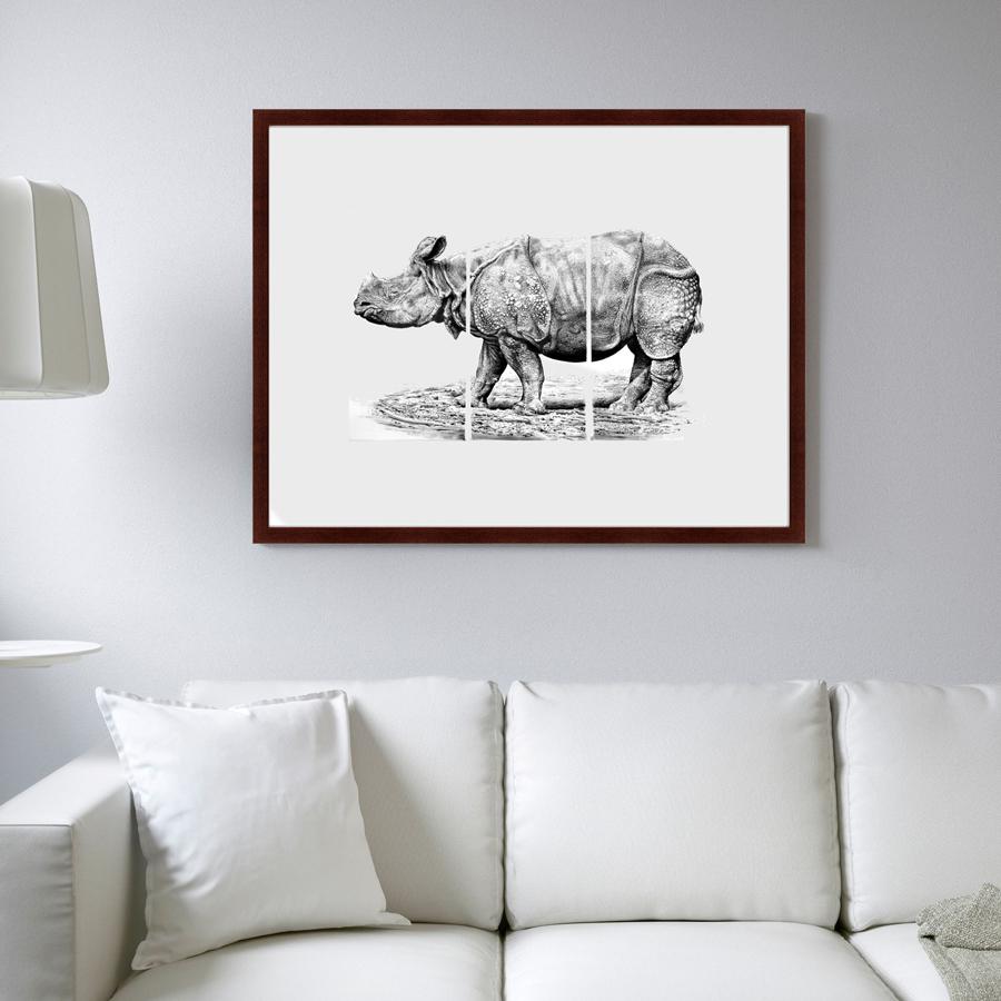 {} Картины в Квартиру Картина Носорог (79х100 см) картины в квартиру картина серобрюхий трагопан 42х52 см