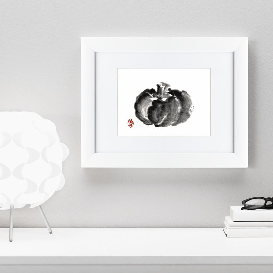 {} Картины в Квартиру Картина Японская Акварель Суми-э, Тыква (35х45 см) картины в квартиру картина убранное поле 35х45 см