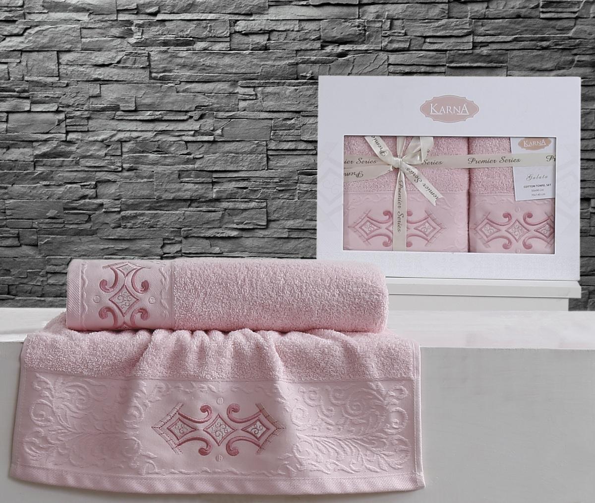 Полотенца Karna Полотенце Galata Цвет: Розовый (Набор) наматрасник karna с пропиткой 120x200 см