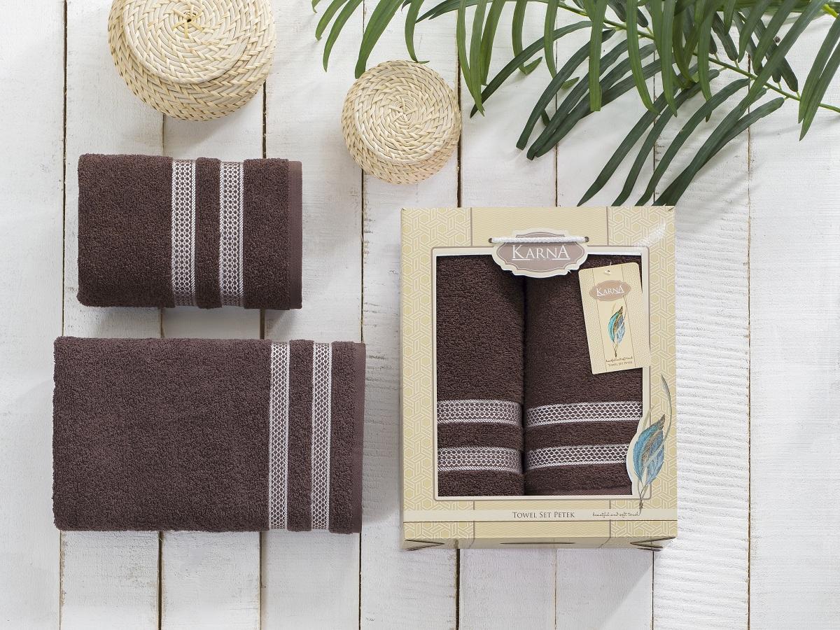 Полотенца Karna Полотенце Petek Цвет:Коричневый (Набор) полотенца karna полотенце petek цвет бежевый набор