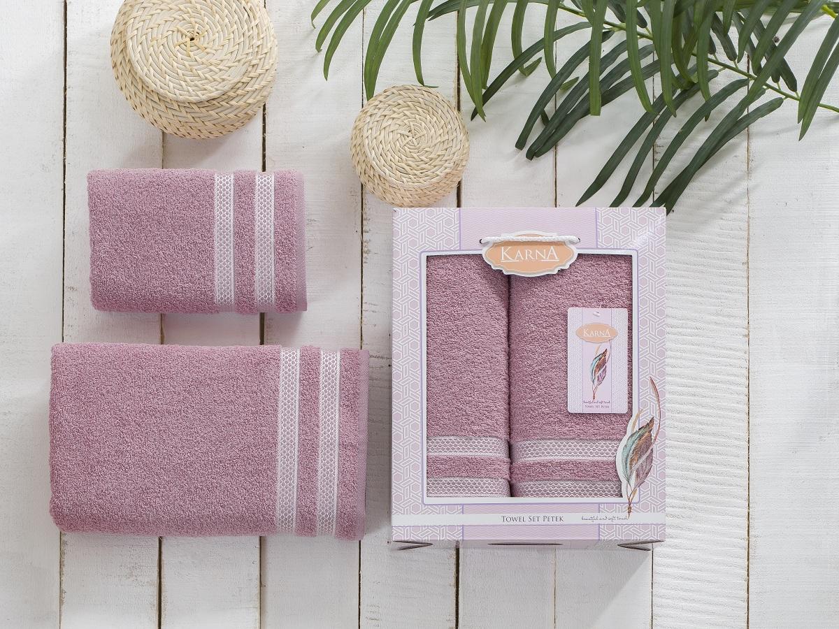 Полотенца Karna Полотенце Petek Цвет: Грязно-Розовый (Набор) полотенца karna полотенце petek цвет бежевый набор