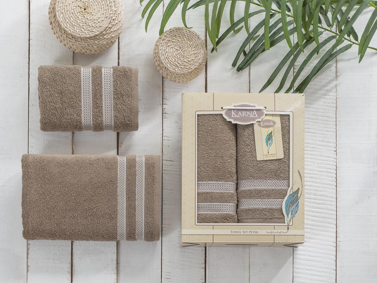 Полотенца Karna Полотенце Petek Цвет:Кофейный (Набор) полотенца karna полотенце petek цвет бежевый набор