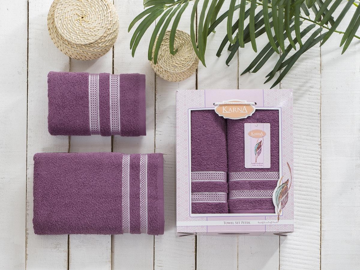 Полотенца Karna Полотенце Petek Цвет: Светло-Лавандовый (Набор) полотенца karna полотенце petek цвет бежевый набор