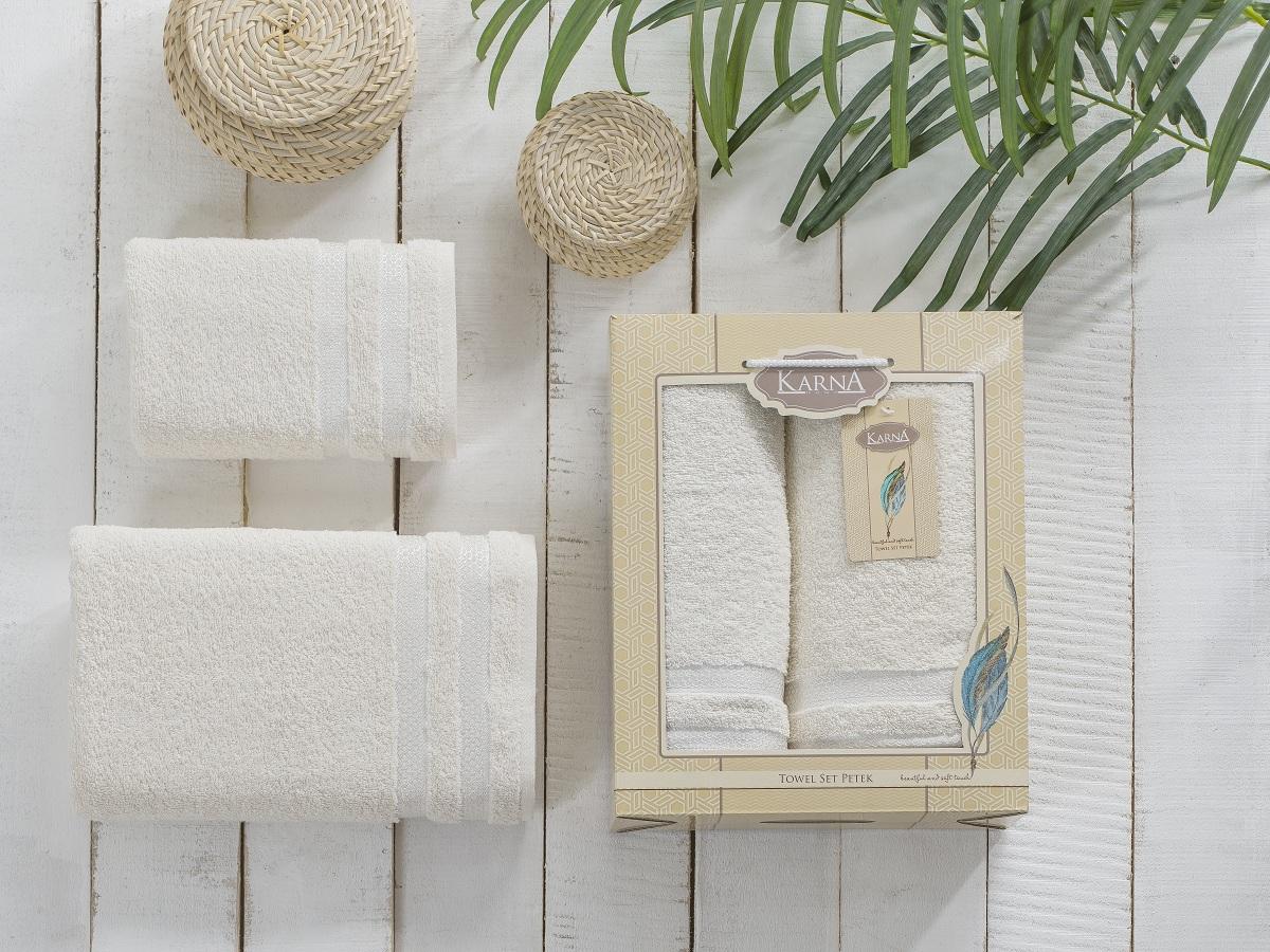 Полотенца Karna Полотенце Petek Цвет:Кремовый (Набор) полотенца karna полотенце petek цвет бежевый набор