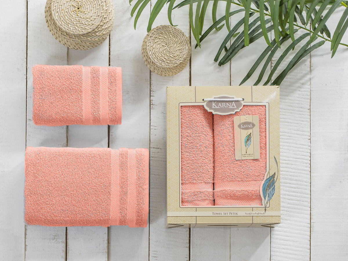 Полотенца Karna Полотенце Petek Цвет:Абрикосовый (Набор) полотенца karna полотенце petek цвет бежевый набор