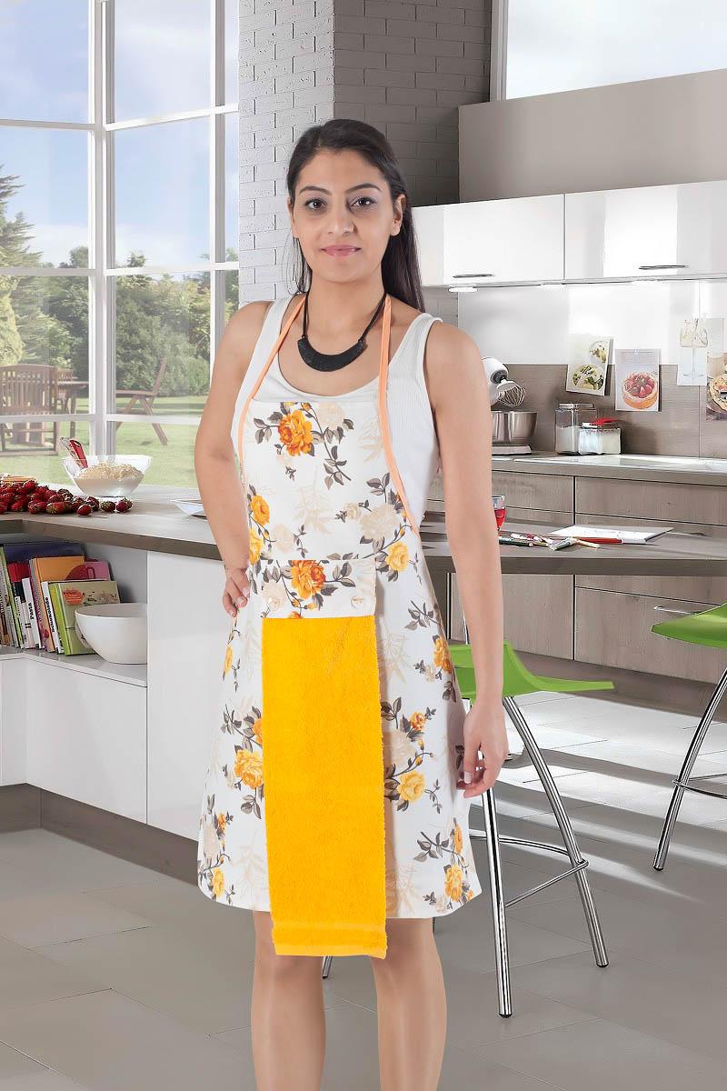 Рукавицы, прихватки, фартуки Karna Фартук с салфеткой Ainslie Цвет:  Желтый фартуки кухонные dekortex фартук хлопок комбинированный