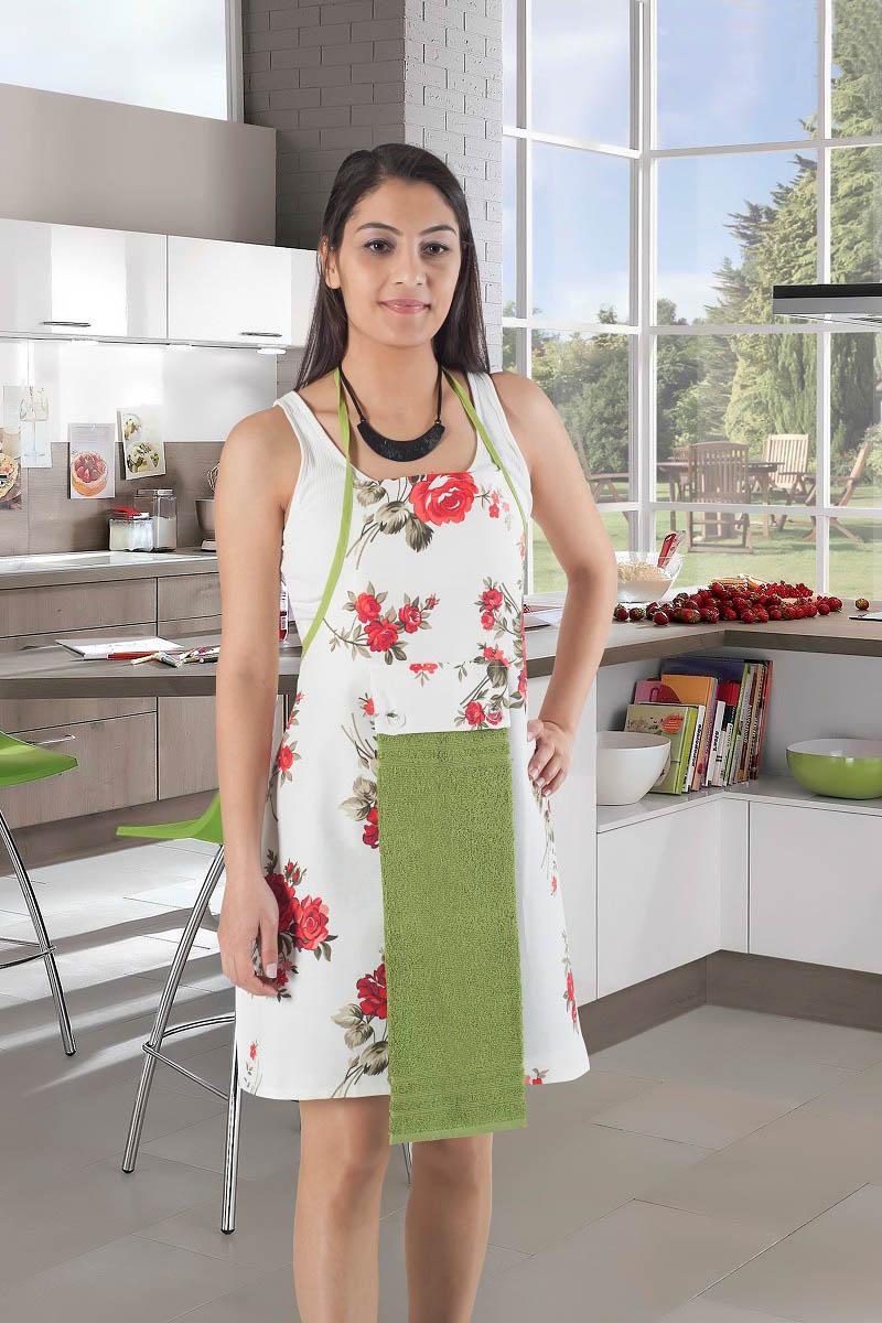 Рукавицы, прихватки, фартуки Karna Фартук с салфеткой Ainslie Цвет:  Зеленый фартуки кухонные dekortex фартук хлопок комбинированный