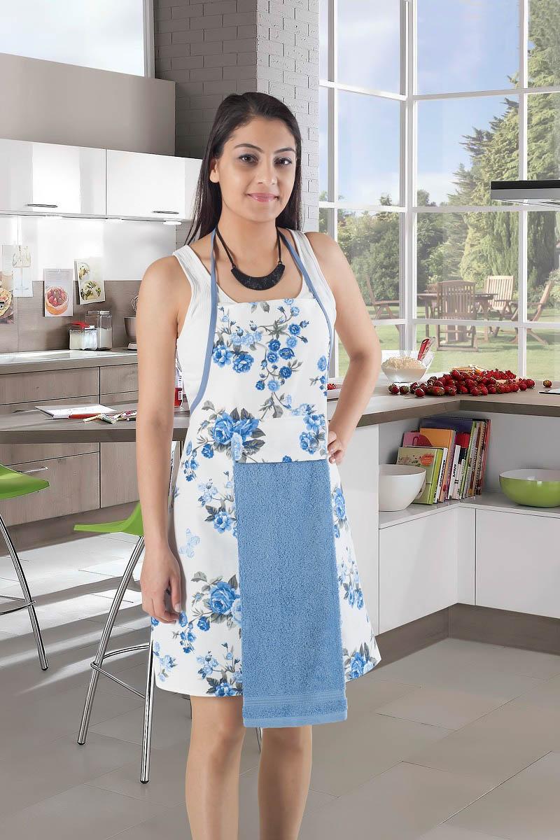 Рукавицы, прихватки, фартуки Karna Фартук с салфеткой Ainslie Цвет:  Голубой фартуки кухонные dekortex фартук хлопок комбинированный