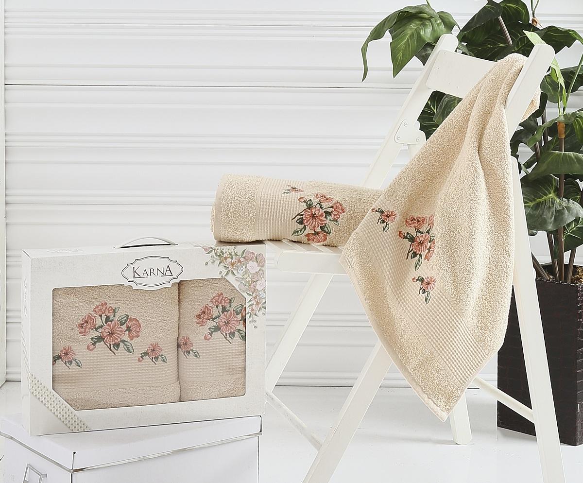 Полотенца Karna Полотенце Devon Цвет: Бежевый (Набор) полотенце махровое karna с жаккардом iteka 70x140 см 1 1