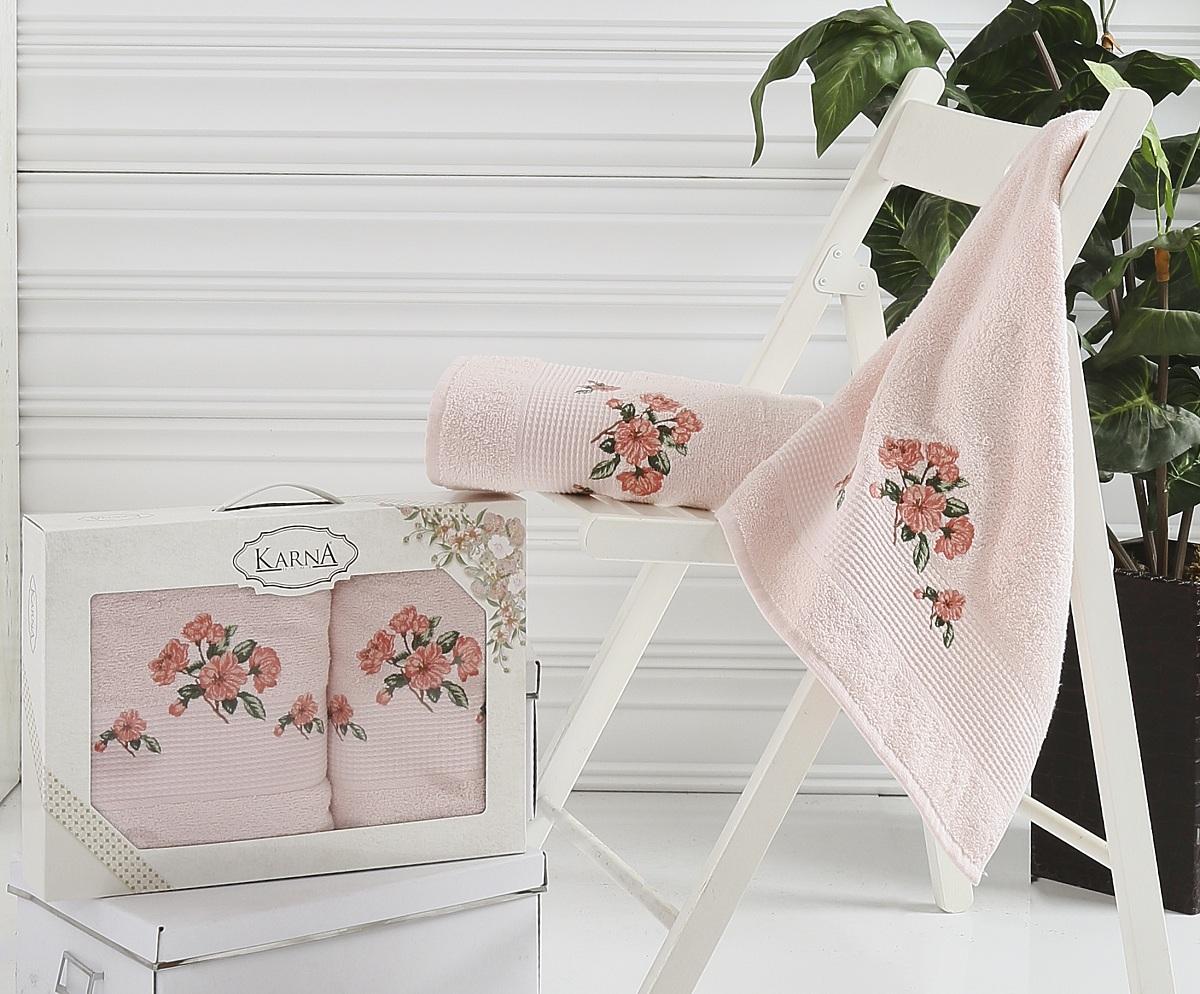 Полотенца Karna Полотенце Devon Цвет: Розовый (Набор) полотенце махровое karna с жаккардом iteka 70x140 см 1 1