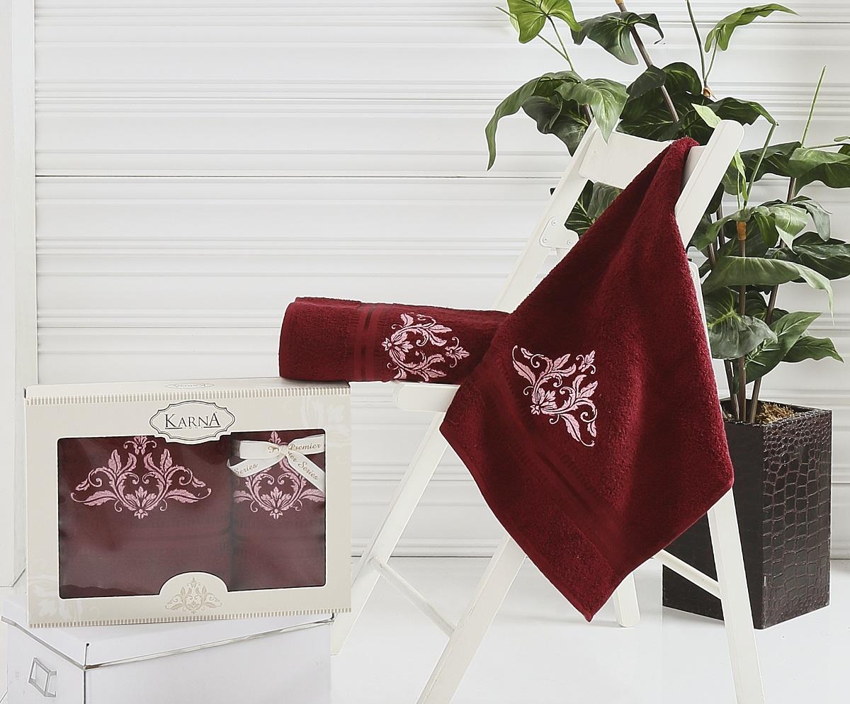 Полотенца Karna Полотенце Agra Цвет: Бордовый (Набор) наматрасник karna с пропиткой 120x200 см