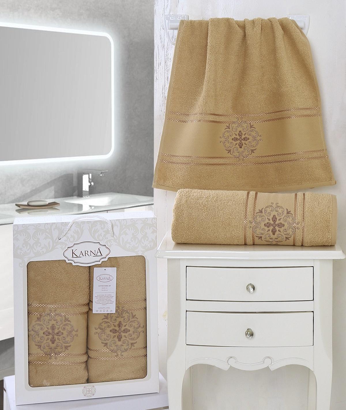 Полотенца Karna Полотенце Seher Цвет: Горчичный (Набор) every набор чехлов для дивана every цвет горчичный