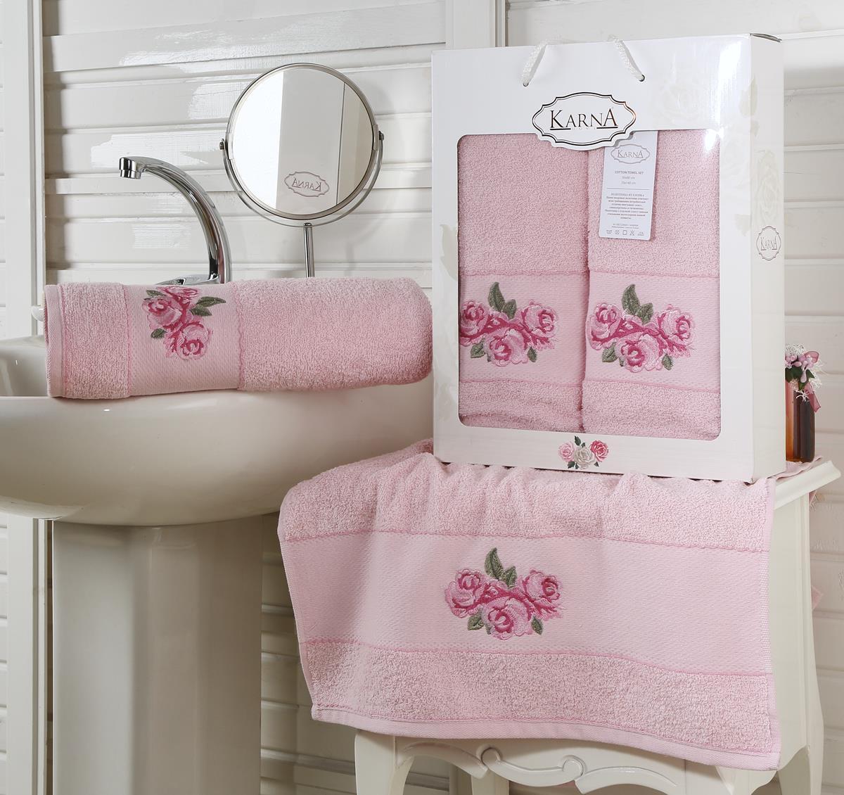 Полотенца Karna Полотенце Havin Цвет: Розовый (Набор) полотенце махровое karna с жаккардом iteka 70x140 см 1 1