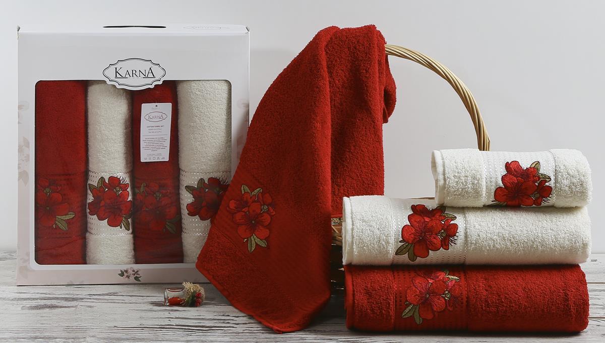 Полотенца Karna Полотенце Orkide Цвет: Бордовый (Набор) наматрасник karna с пропиткой 120x200 см