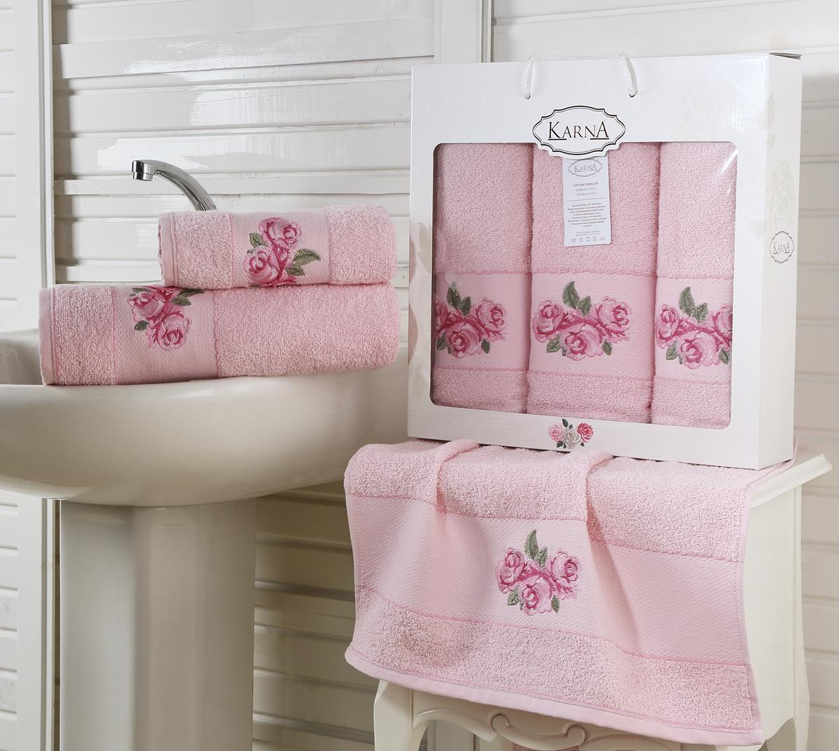 Полотенца Karna Полотенце Havin Цвет: Розовый (Набор) наматрасник karna с пропиткой 120x200 см