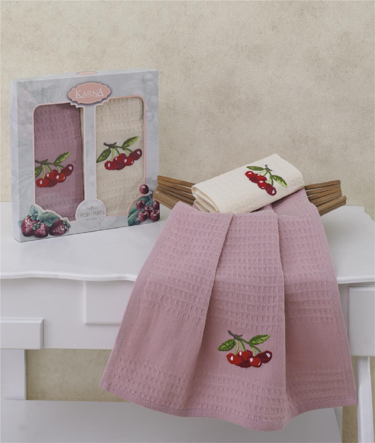 {} Karna Кухонное полотенце Stoma V1 (40х60 см - 2 шт) bon appetit кухонное полотенце cake цвет голубой 40х60 см 2 шт