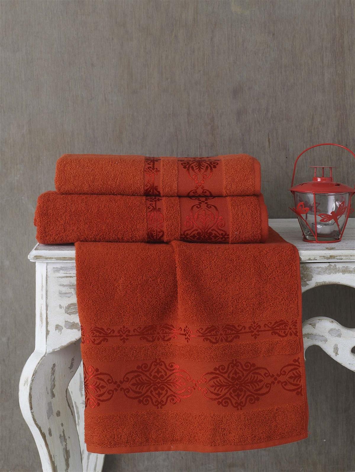 Полотенца Karna Полотенце Rebeka Цвет: Кирпичный (70х140 см) karna karna полотенце innes цвет красный 70х140 см