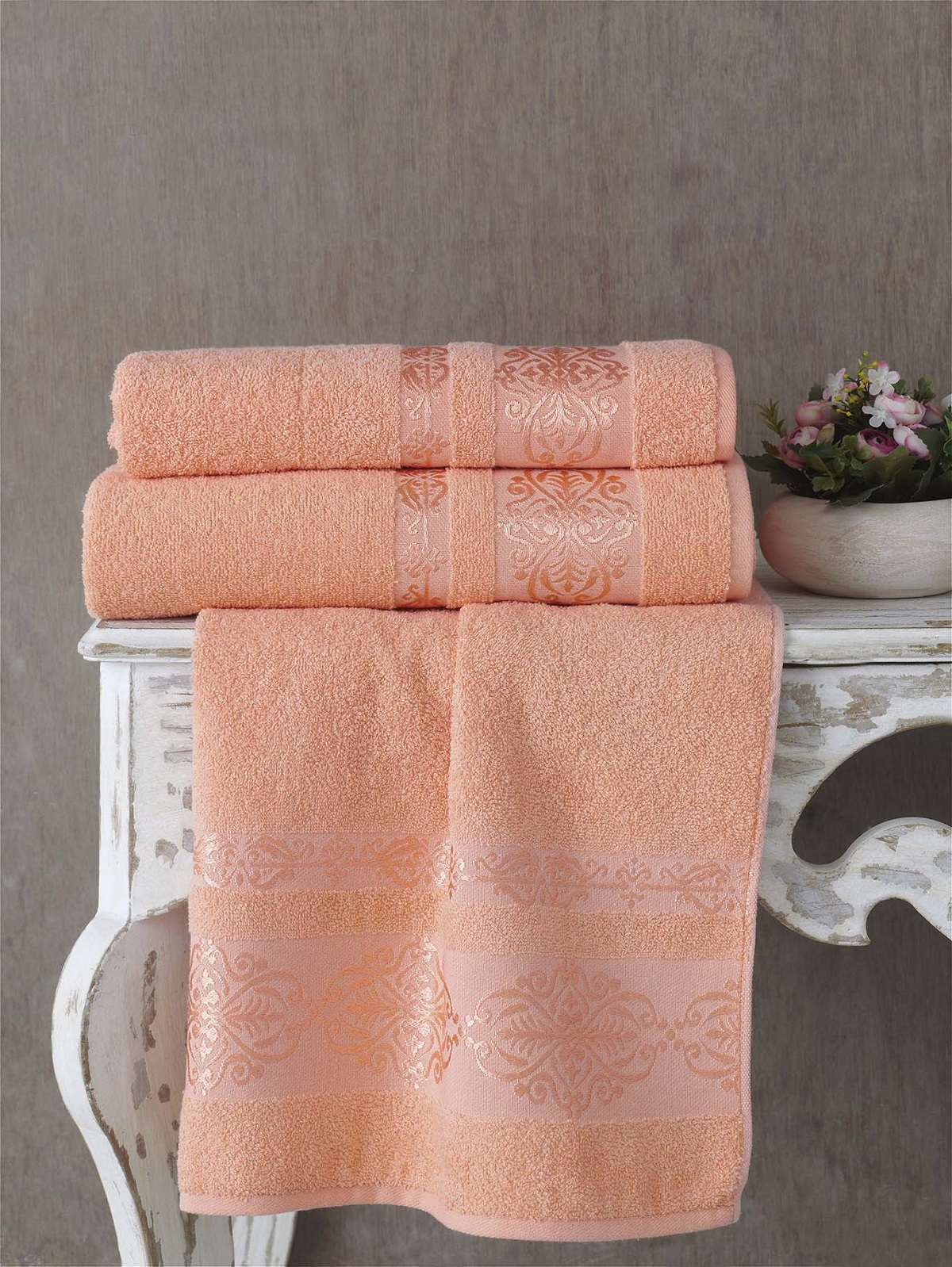 Полотенца Karna Полотенце Rebeka Цвет: Абрикосовый (70х140 см) полотенца karna полотенце iteka цвет коричневый 70х140 см