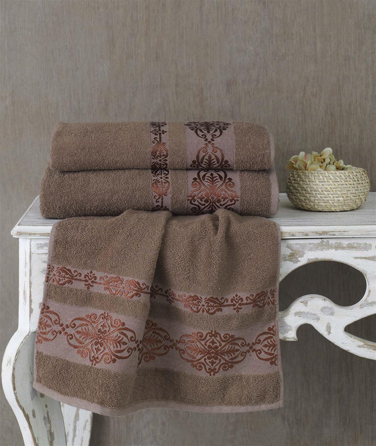 Полотенца Karna Полотенце Rebeka Цвет: Коричневый (70х140 см) karna karna полотенце innes цвет красный 70х140 см