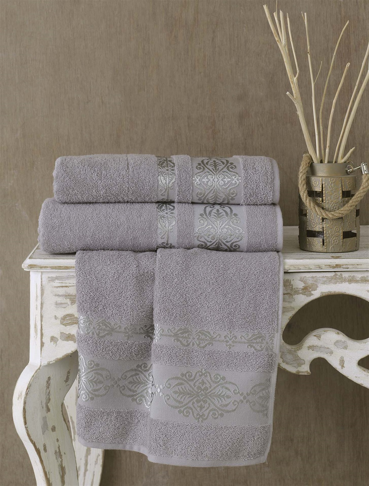 Полотенца Karna Полотенце Rebeka Цвет: Серый (70х140 см) karna karna полотенце innes цвет красный 70х140 см
