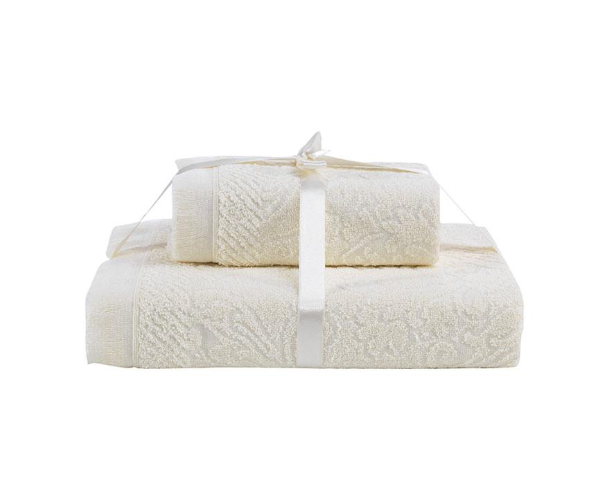 купить Полотенца Karna Полотенце Savina Цвет: Кремовый (50х90 см,70х140 см) по цене 610 рублей