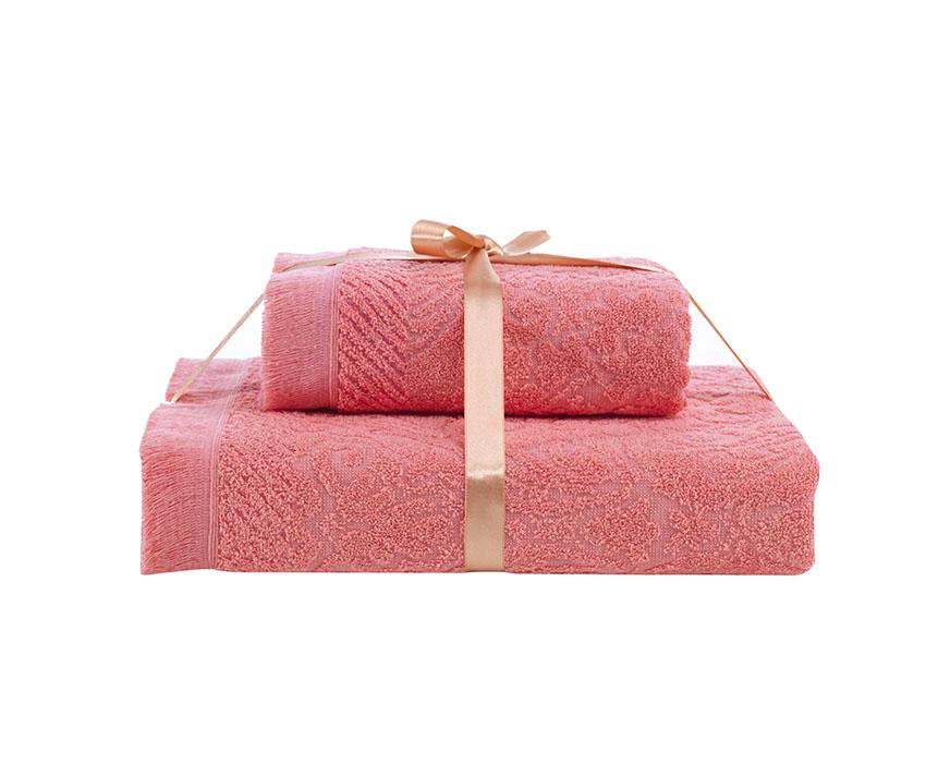 купить Полотенца Karna Полотенце Savina Цвет: Коралловый (50х90 см,70х140 см) по цене 610 рублей