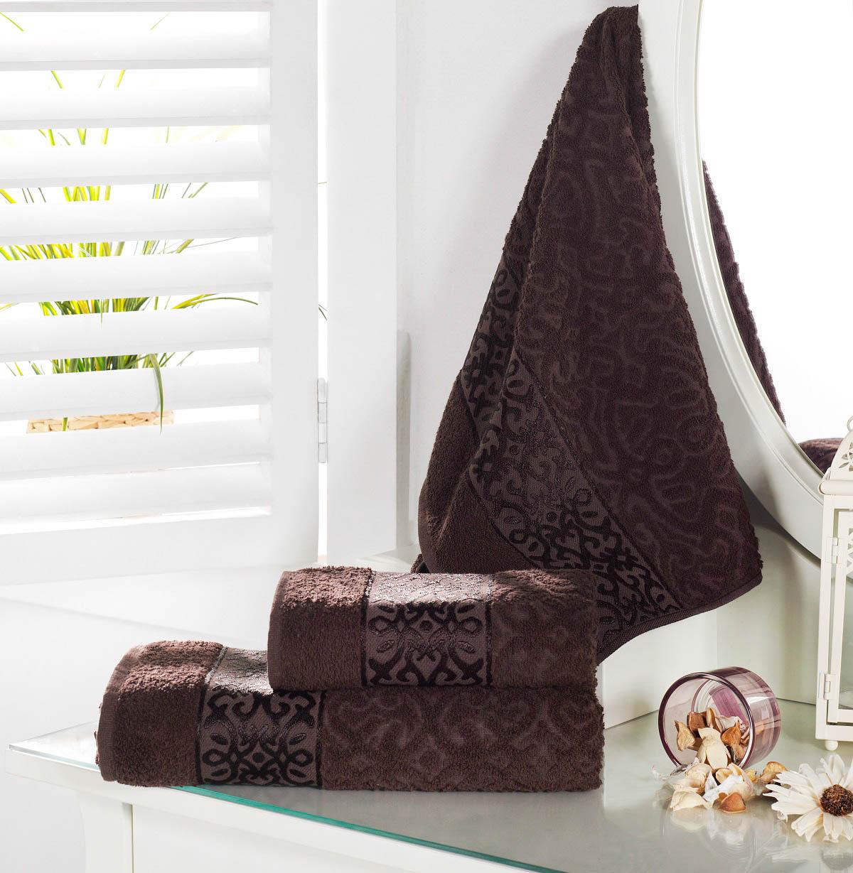 Полотенца Karna Полотенце Sahra Цвет: Коричневый (50х90 см) наматрасник karna с пропиткой 120x200 см