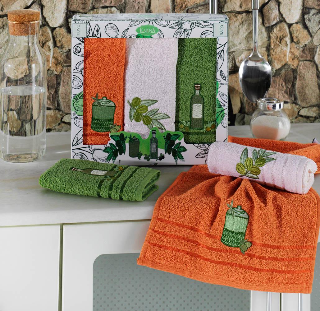 {} Karna Кухонное полотенце Olive (30х50 см - 3 шт) наматрасник karna с пропиткой 120x200 см