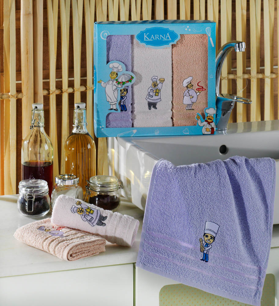 {} Karna Кухонное полотенце Savon (30х50 см - 3 шт) sermina кухонное полотенце jeptha 30х50 см 3 шт