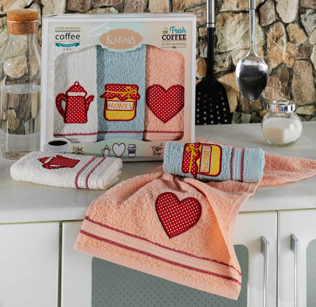 {} Karna Кухонное полотенце Tea love (30х50 см - 3 шт) love rose 30 x 45см