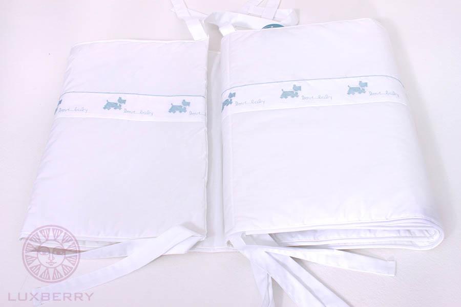 Детское постельное белье и комлекты BOVI Чехол для бампера Собачки New Цвет: Белый/Голубой бампера на приору в ростове