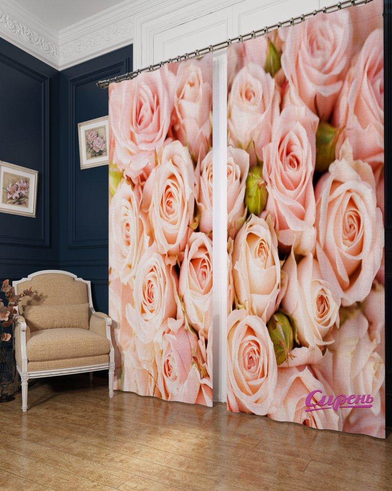 Шторы Стильный Дом Фотошторы Розовые Розы как дом в деревне на мат капиталл