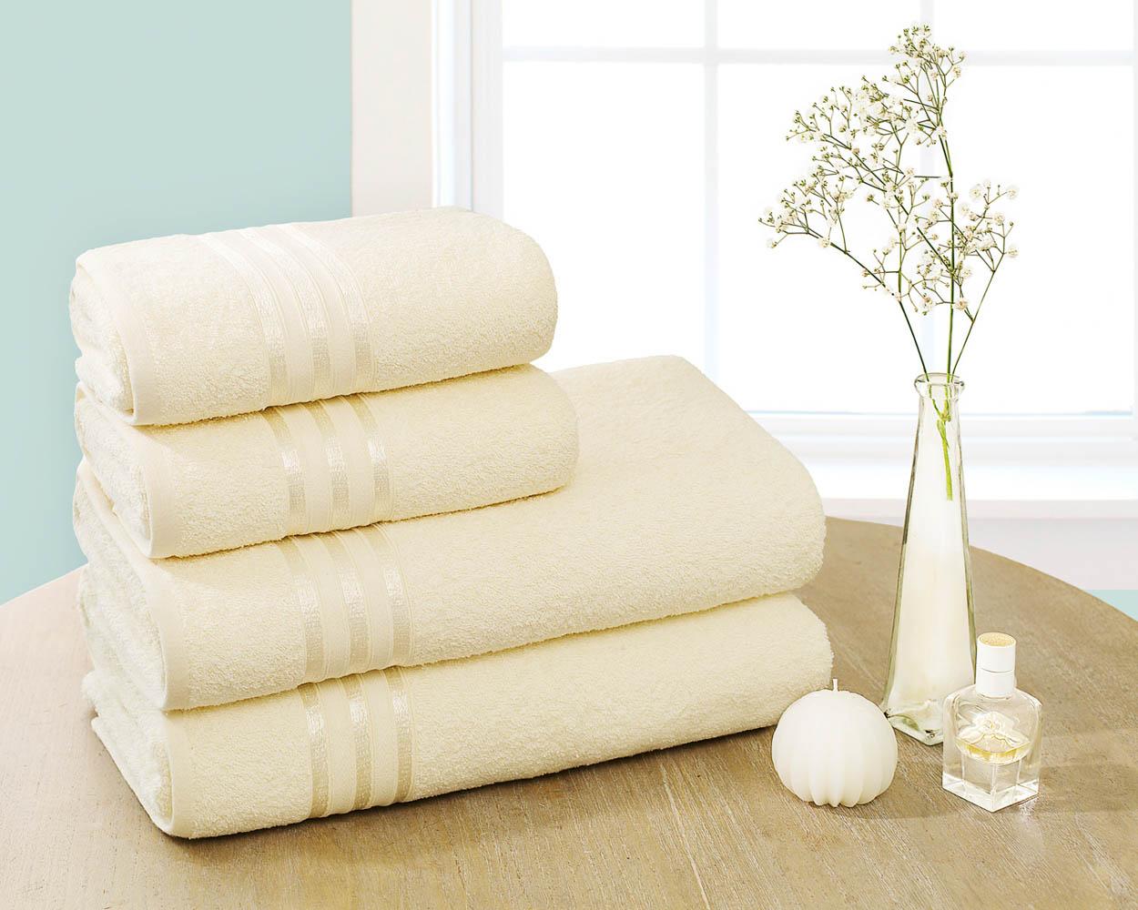 Полотенца Dome Набор из 4 полотенец Harmonika Цвет: Молочный полотенца кухонные la pastel набор полотенец 4 предмета из микрофибры 30х30
