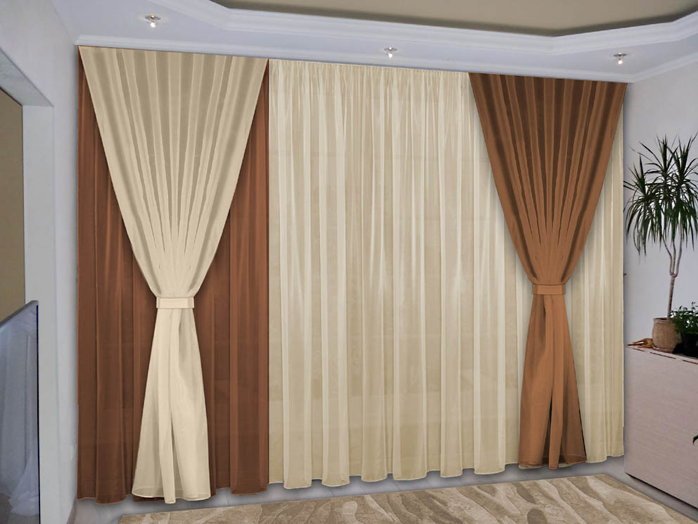 Шторы РеалТекс Классические шторы Deming Цвет: Шоколад, Ваниль
