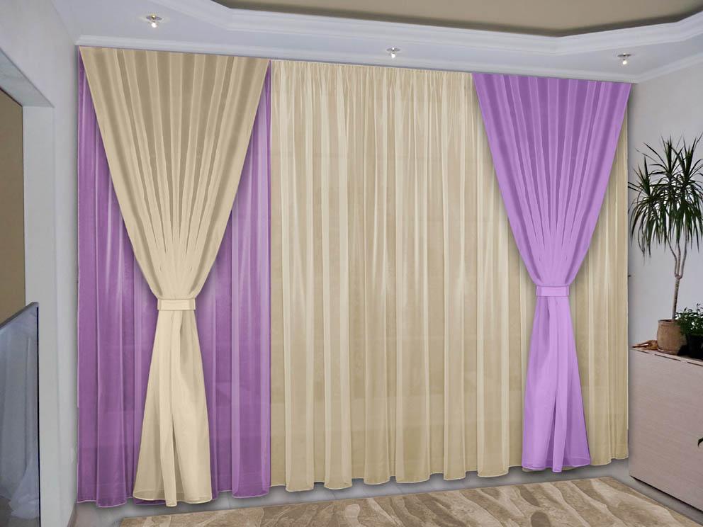 Шторы РеалТекс Классические шторы Deming Цвет: Сиреневый, Ваниль