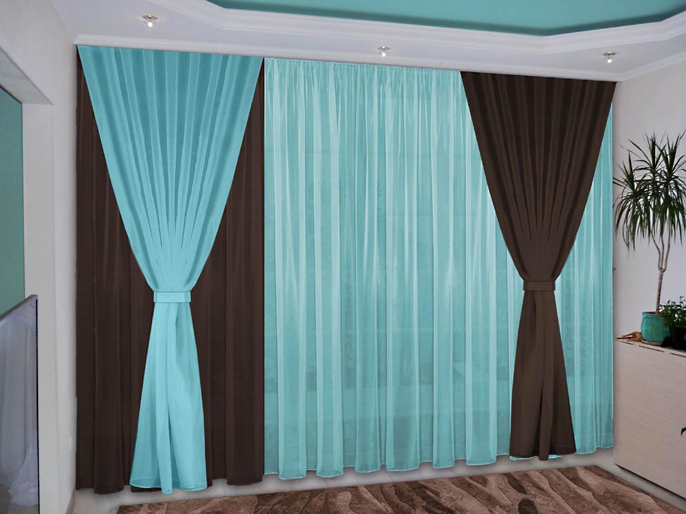 Шторы РеалТекс Классические шторы Deming Цвет: Темно-Коричневый, Бирюзовый шторы реалтекс классические шторы alberta цвет персиковый молочный
