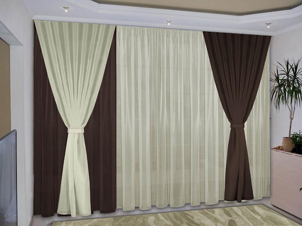 Шторы РеалТекс Классические шторы Deming Цвет: Темно-Коричневый, Жемчужный шторы реалтекс классические шторы alberta цвет персиковый молочный