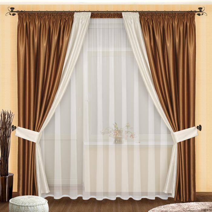 Шторы РеалТекс Классические шторы Amariah Цвет: Шоколадно-Белый шторы реалтекс классические шторы alberta цвет персиковый молочный