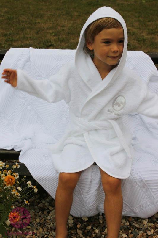 Детские халаты BOVI Детский халат Собачки Цвет: Бело-Бежевый (5-6 лет) халаты домашние лори халат