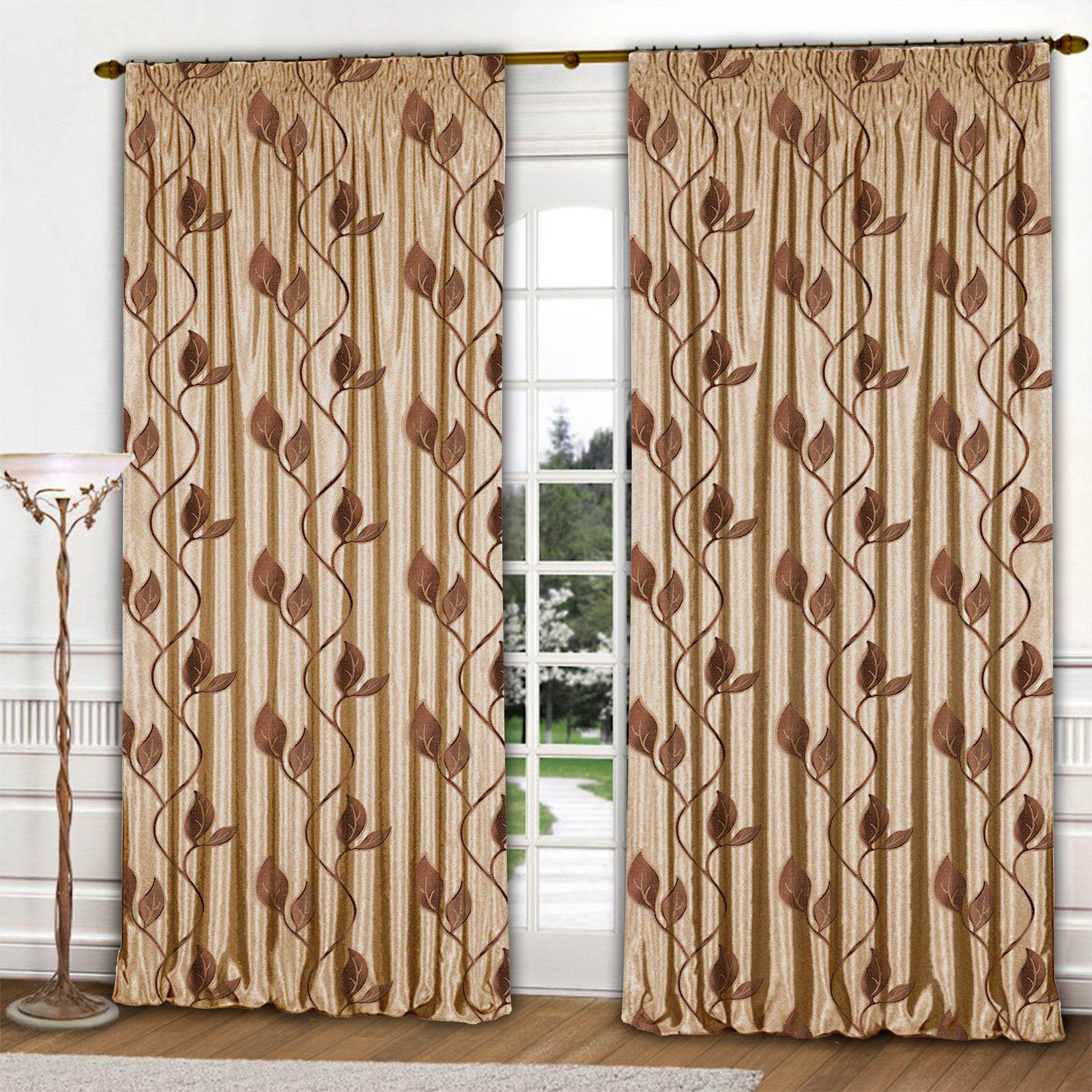 Шторы РеалТекс Классические шторы Листья Цвет: Шоколадный шторы реалтекс классические шторы alberta цвет персиковый молочный