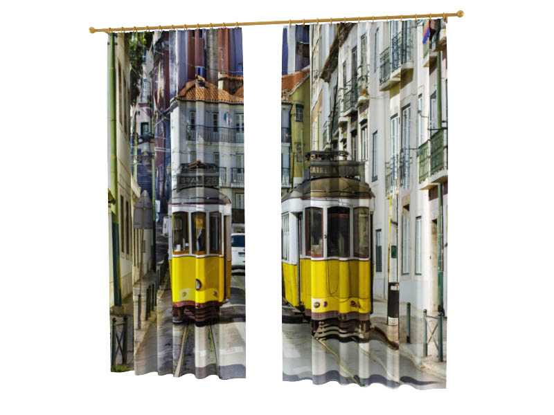 Шторы StickButik Фотошторы Желтые Трамвайчики шторы stickbutik фотошторы желтые квадроциклы