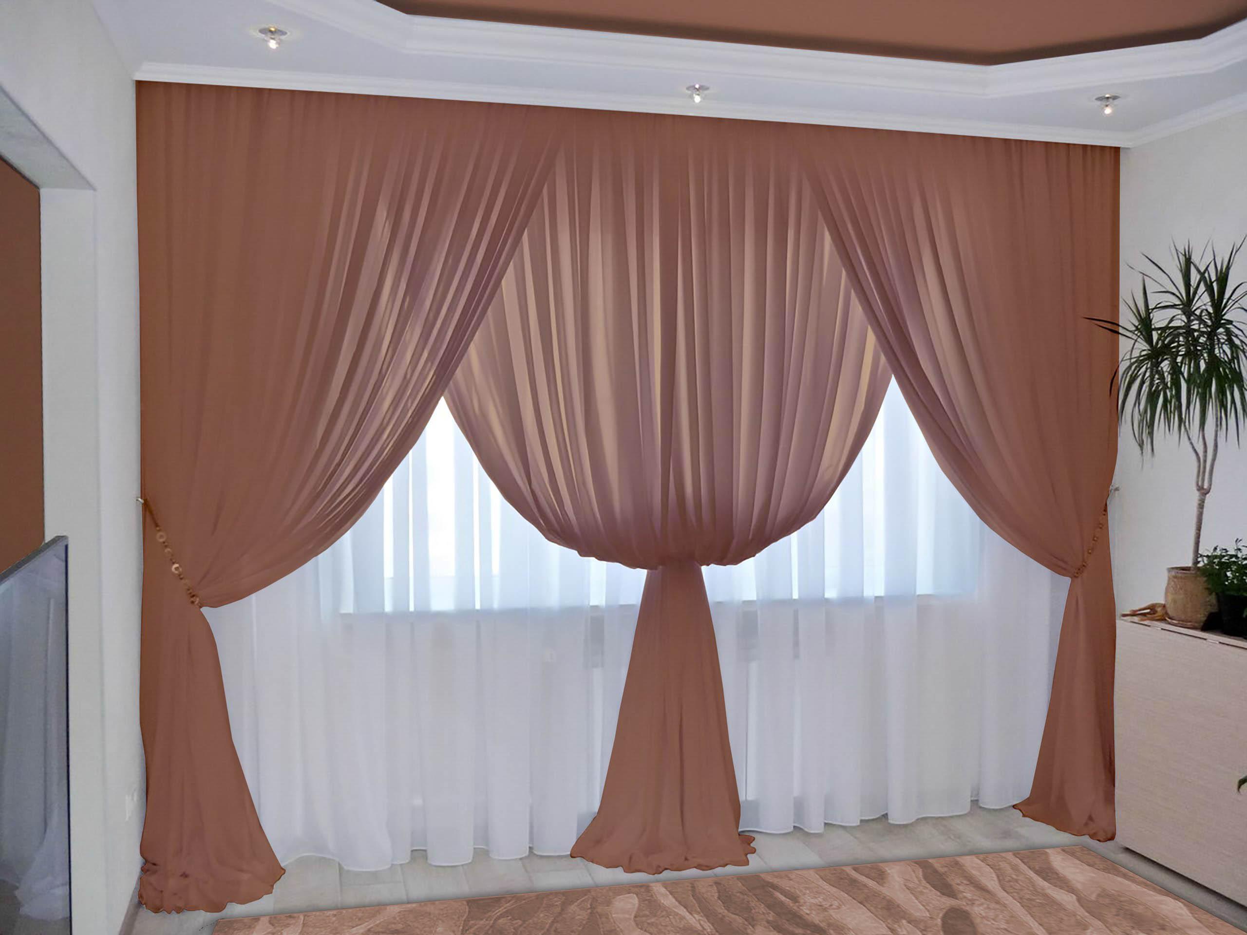 Шторы РеалТекс Классические шторы Augustine Цвет: Шоколад шторы реалтекс классические шторы alberta цвет персиковый молочный