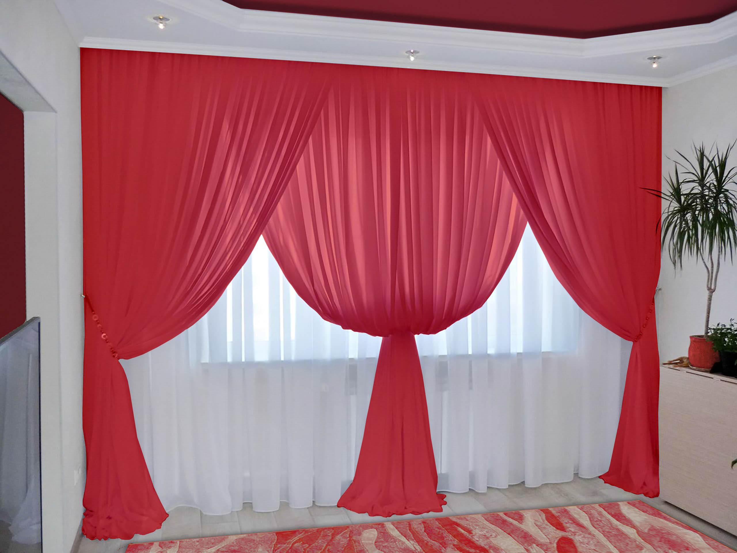 Шторы РеалТекс Классические шторы Augustine Цвет: Алый шторы реалтекс классические шторы alberta цвет персиковый молочный