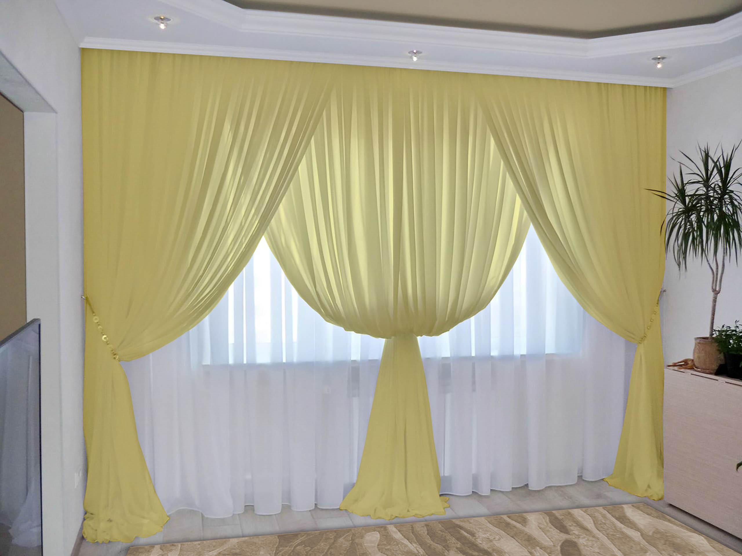 Шторы РеалТекс Классические шторы Augustine Цвет: Пастельно-Желтый шторы реалтекс классические шторы alberta цвет персиковый молочный