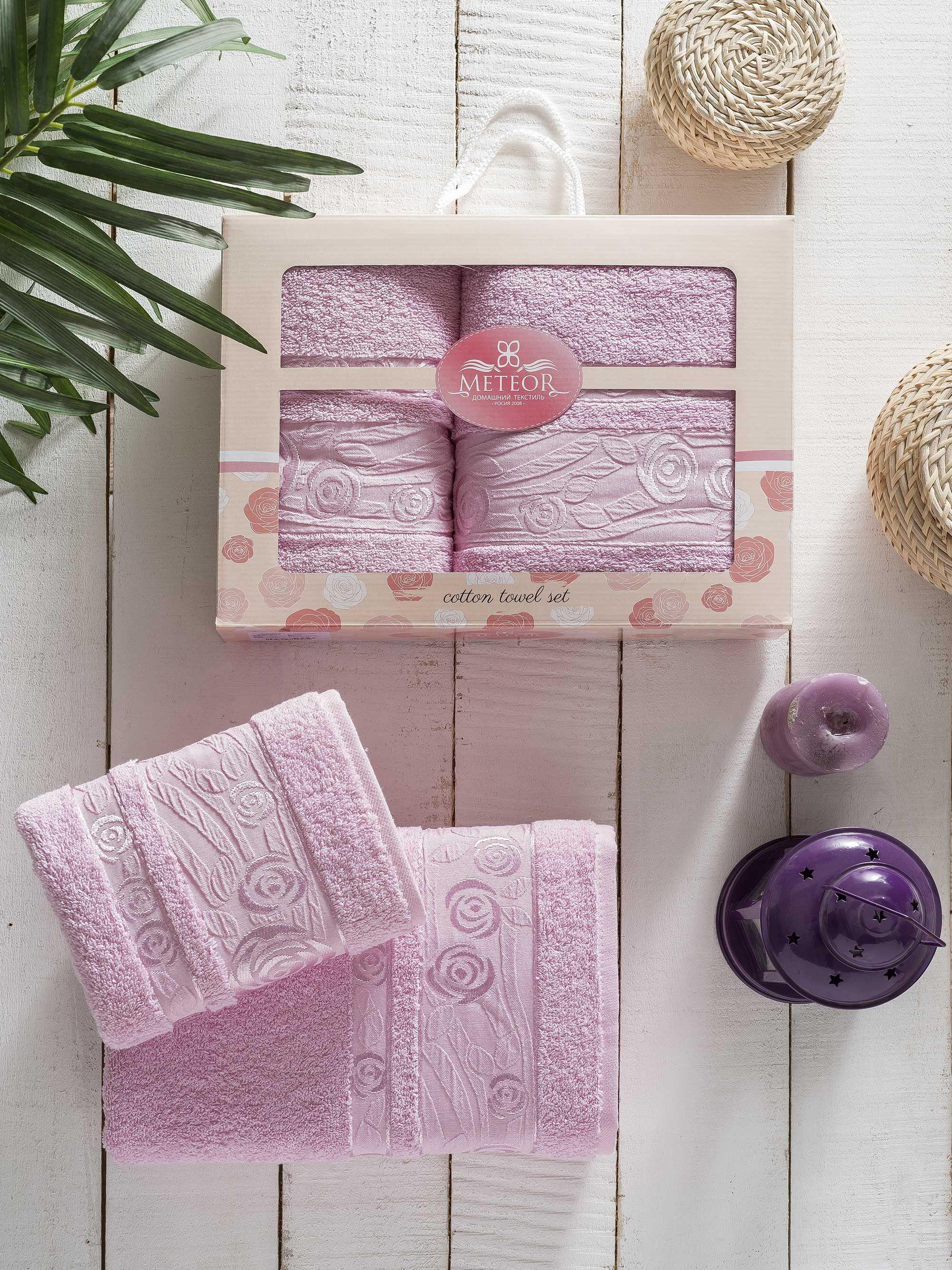 где купить Полотенца Meteor Полотенце Rose Garden Цвет: Розовый (50х90 см,70х140 см) по лучшей цене