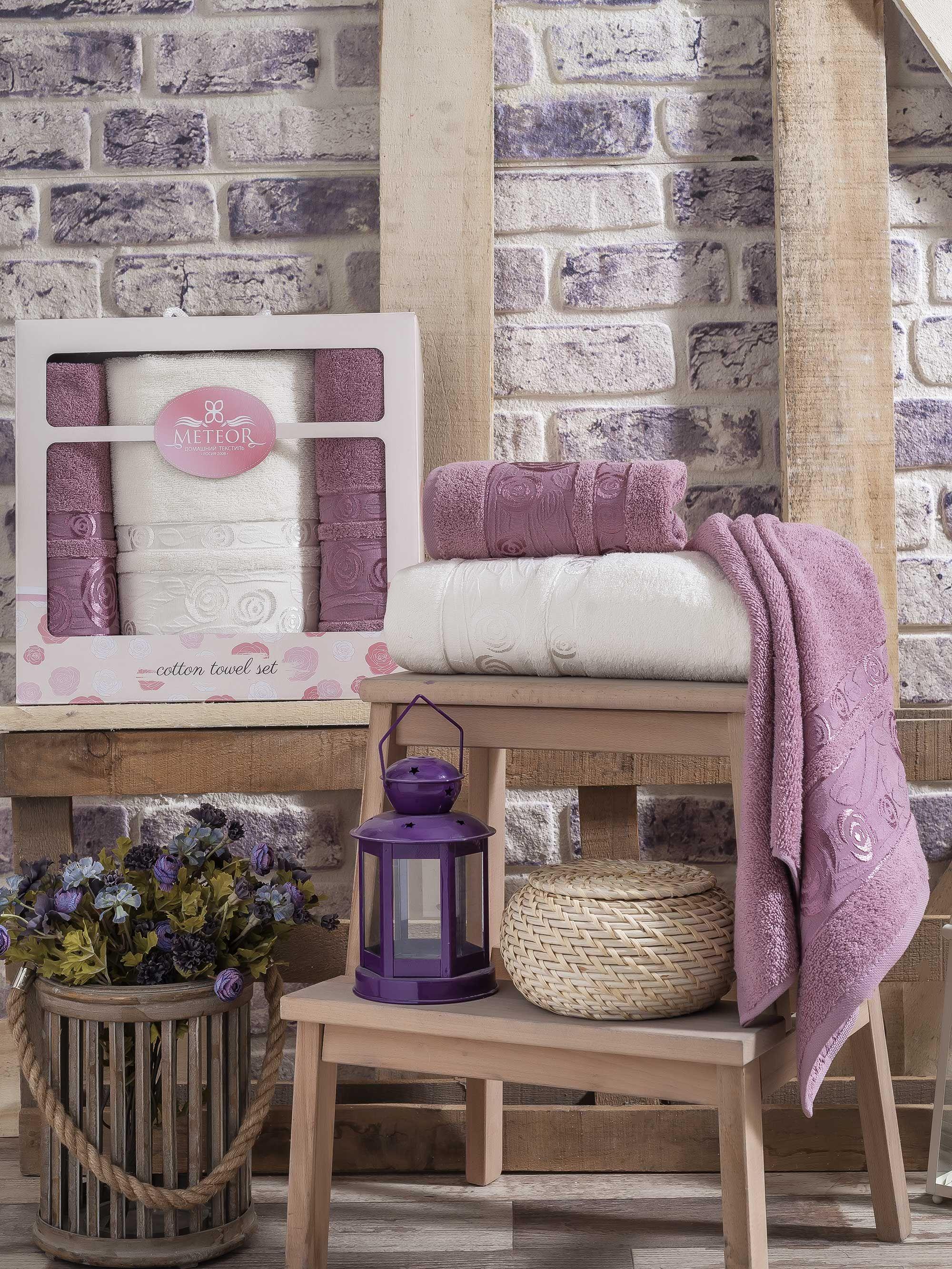 где купить Полотенца Meteor Полотенце Rose Garden Цвет: Сиреневый (50х90 см - 2 шт,70х140 см) по лучшей цене