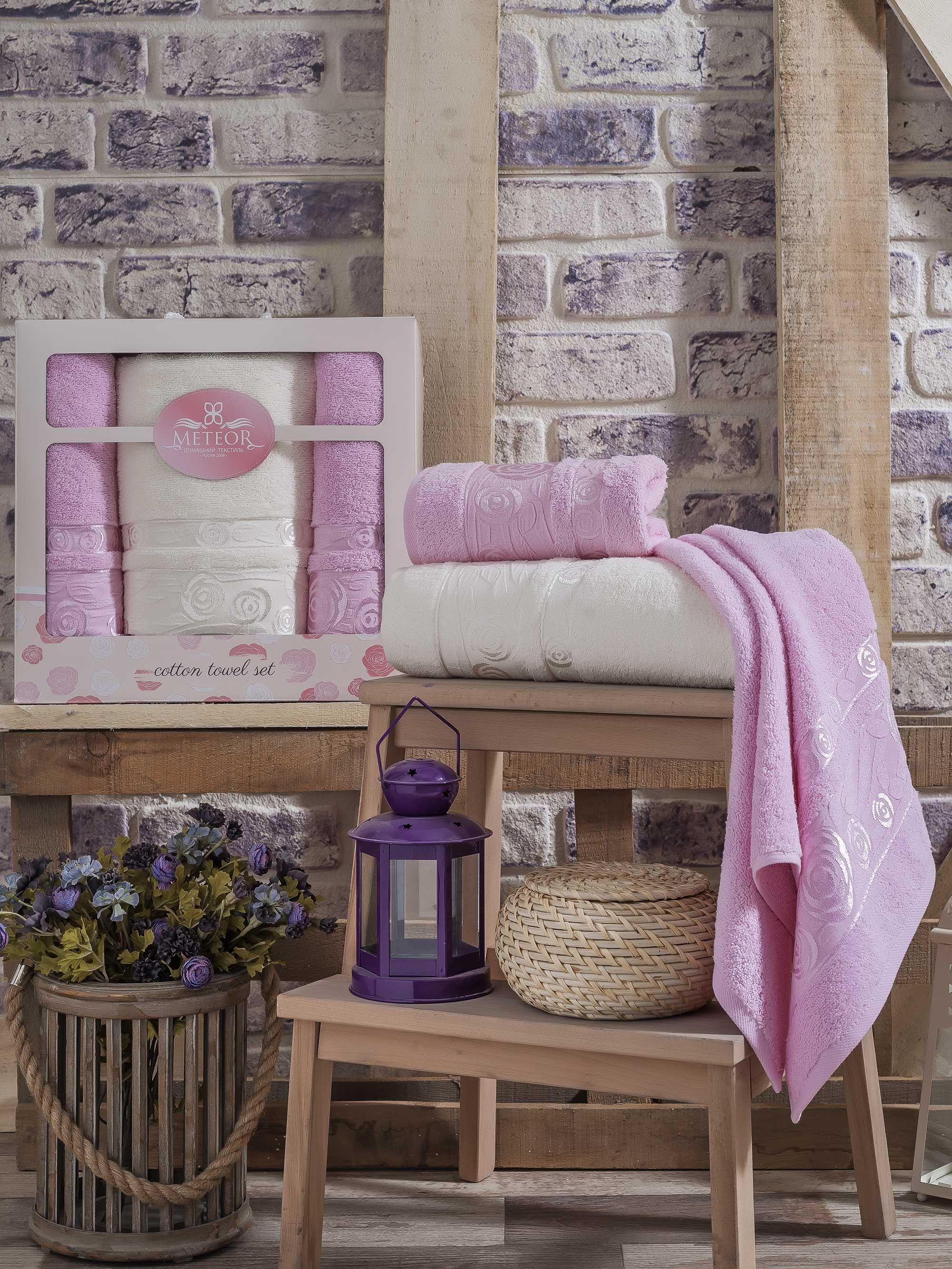 где купить Полотенца Meteor Полотенце Rose Garden Цвет: Розовый (50х90 см - 2 шт,70х140 см) по лучшей цене