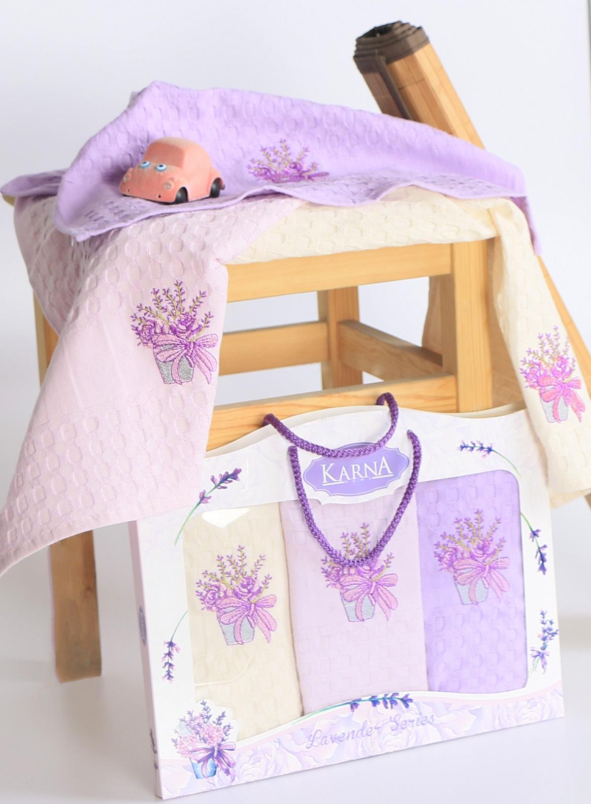 {} Karna Кухонное полотенце Lavender (45х65 см - 3 шт) наматрасник karna с пропиткой 120x200 см