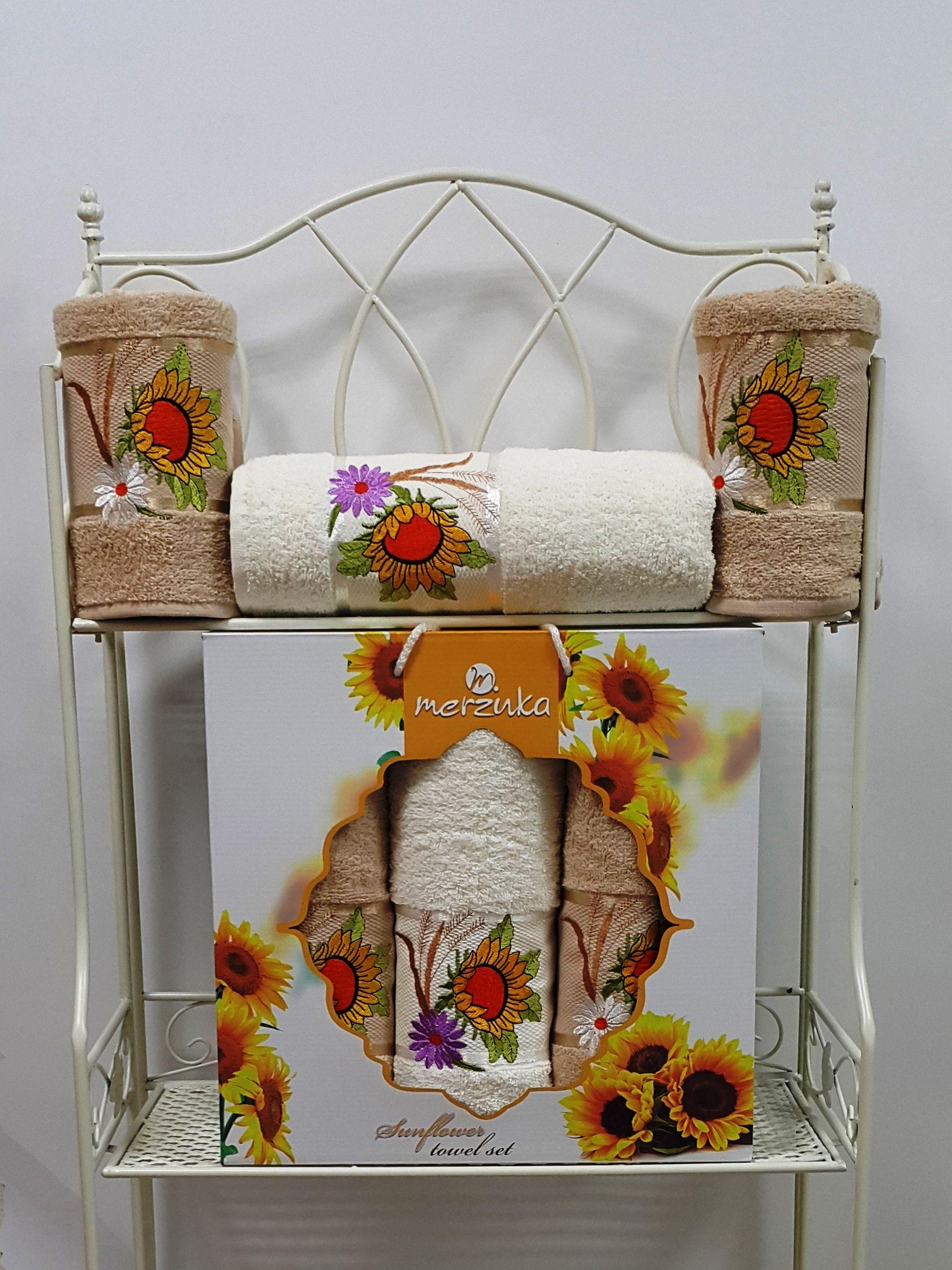 где купить Полотенца Oran Merzuka Полотенце Sunflower Цвет: Бежевый (50х80 см - 2 шт,70х130 см) по лучшей цене